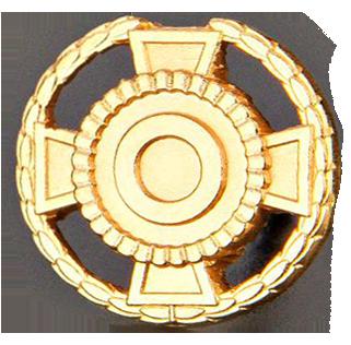 Kultainen jäsenmerkki lehväkuviolla